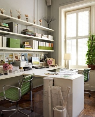 office with green accents