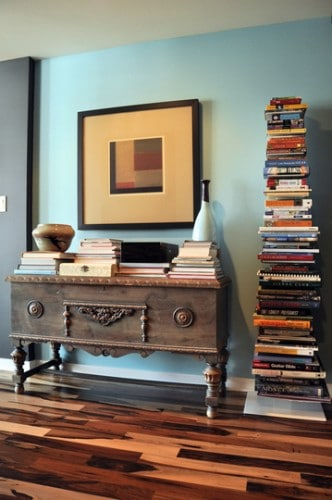 displaying books by stacking them