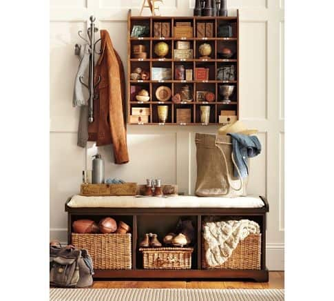 storage bench with storage basket