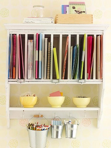 use plate rack for command center storage