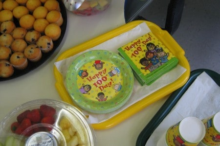 100 days of school plates and cups