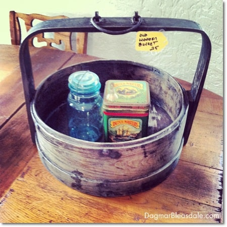 vintage wooden bucket, Ball jar, vintage tin can