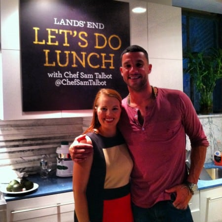 Dagmar Bleasdale and chef Sam Talbot at Lands' End event