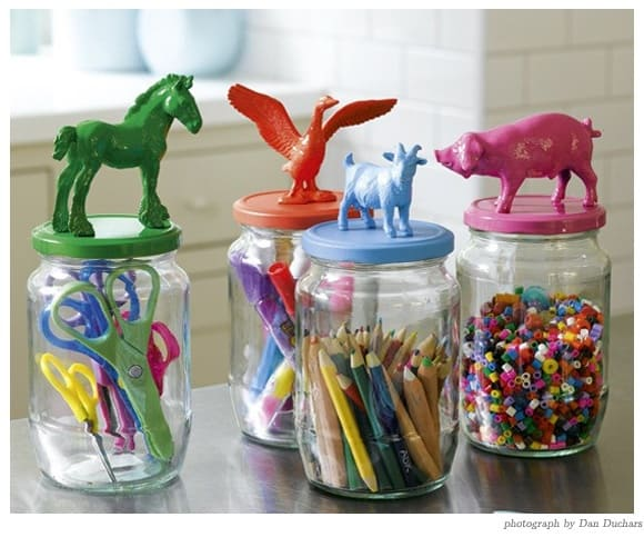 glass jars with DIY painted lids