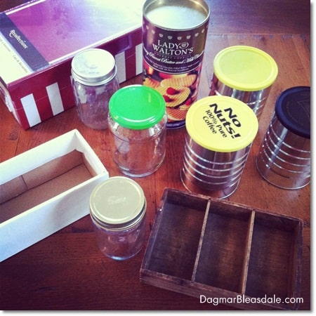 inexpensive, recycled containers for organizing project
