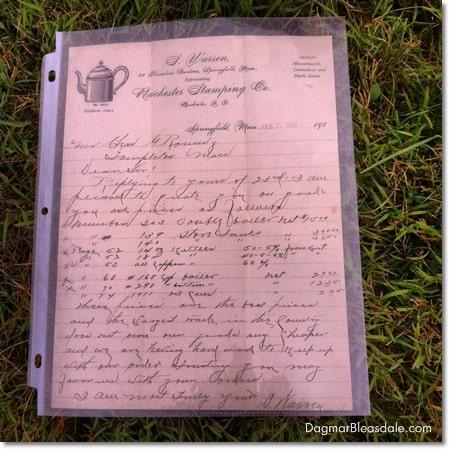 antique handwritten business letter