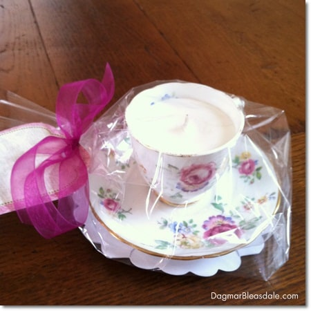 Dagmar's Home Decor handmade soy candle in vintage tea cup