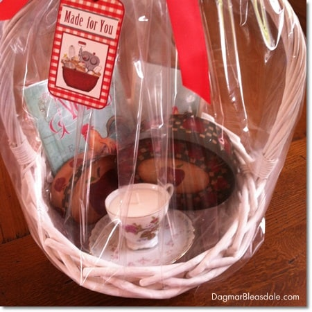 Dagmar's Home Decor gift basket with handmade soy candle in tea cup