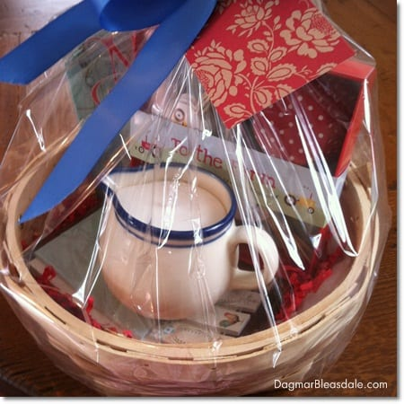 Dagmar's Home Decor gift basket with handmade soy candle in pitcher