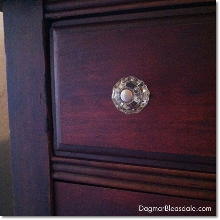 Dagmar Bleasdale: thrifting treasure, little vintage dresser, glass knob