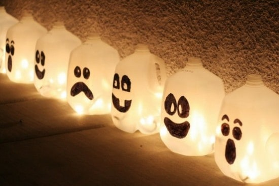 DIY milk jug ghosts for Halloween