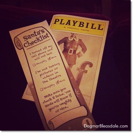 Playbill of Elf The Musical in NYC