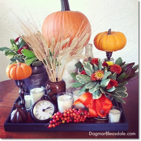 DIY Thanksgiving and fall centerpiece on tray