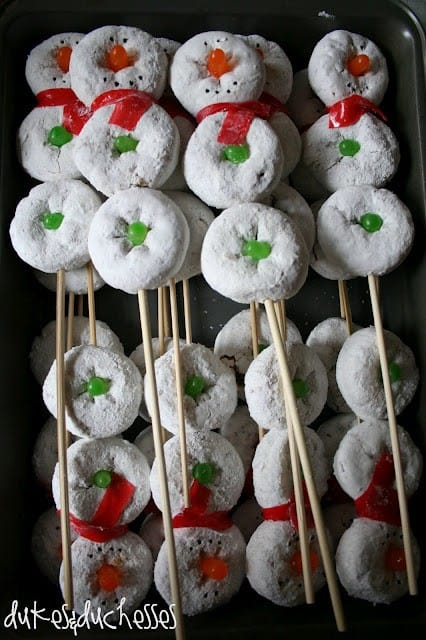 Christmas treats: donuts on a stick make a snowman