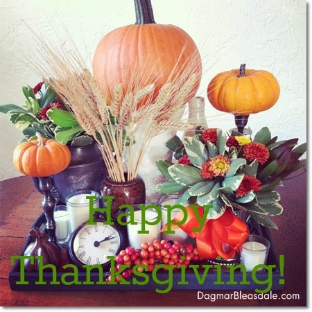 Happy Thanksgiving picture with fall table decor