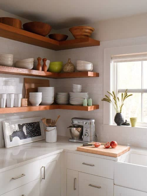floating open shelving in kitchen