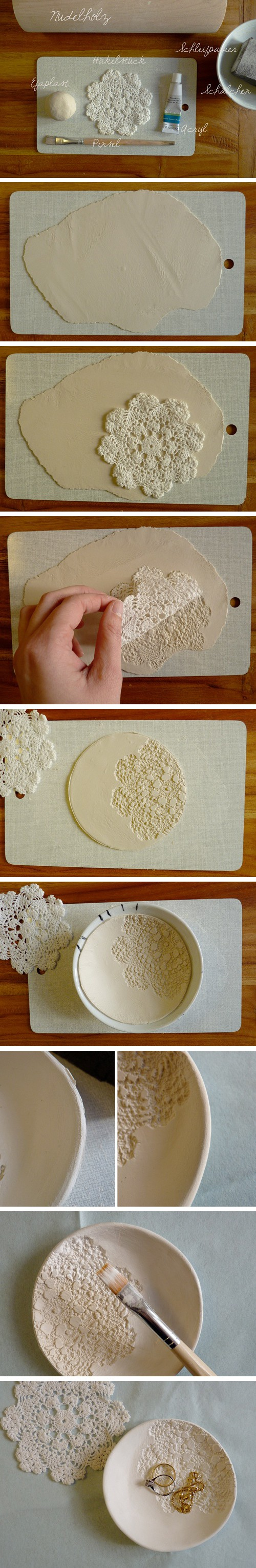 DIY decorative bowl out of air-drying clay