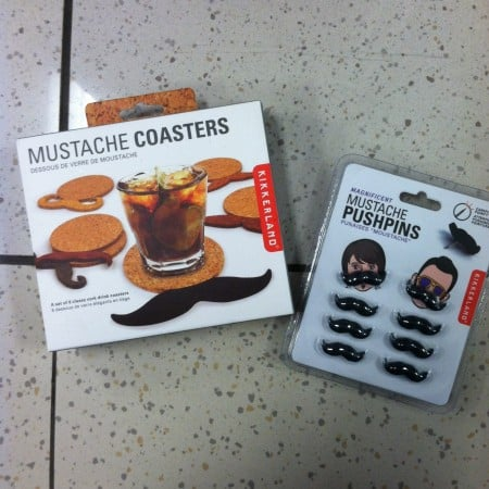 mustache coasters and mustache pushpins