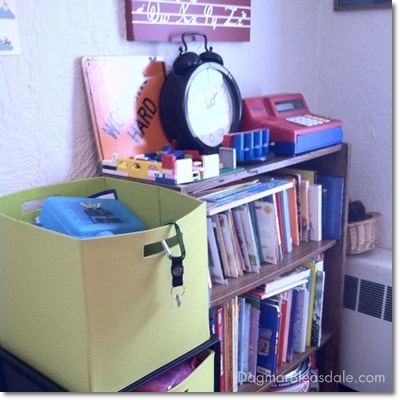 book and toy storage in kid's paly room