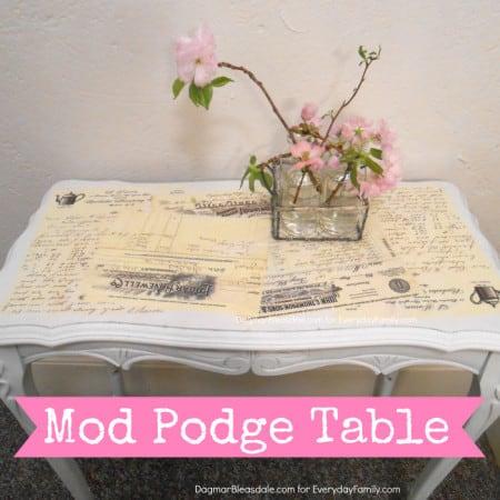 DIY mod podge table