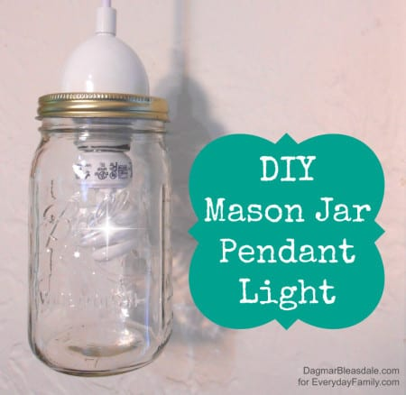 how to make a diy mason jar pendant light in minutes. Black Bedroom Furniture Sets. Home Design Ideas