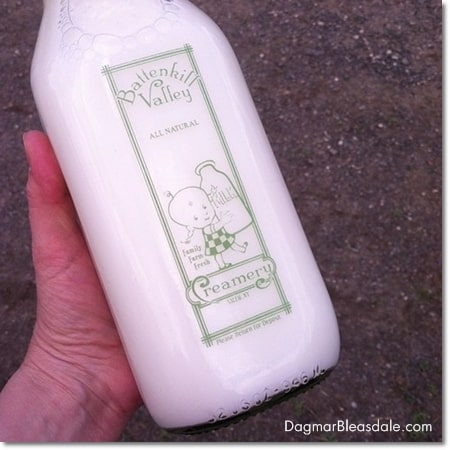 milk in vintage glass bottle