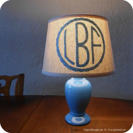 DIY monogram lamp shade