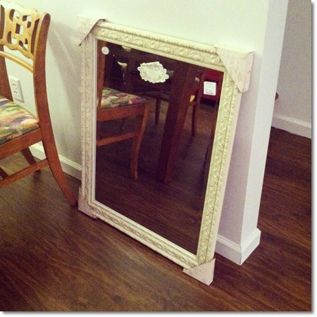 shabby chic frame on wood floor