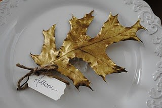 leaf spray painted for name card