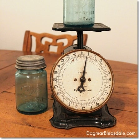 vintage scale and blue Ball mason jars