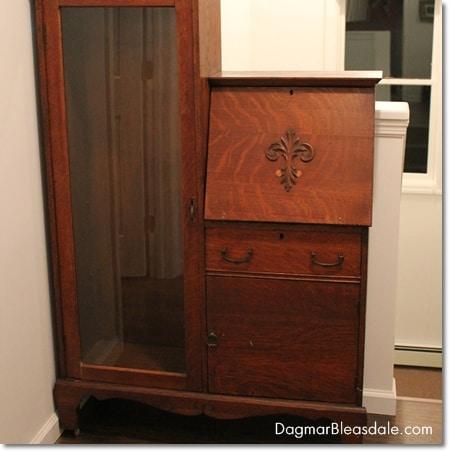 vintage curio cabinet with desk