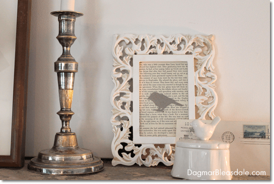Dagmar's Home: framed vintage book page with card stock bird