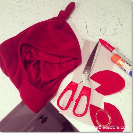 supplies for DIY crab headpiece