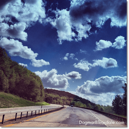 Taconic State Parkway, NY, trees and clouds in the sky