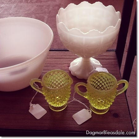 vintage finds: yellow hobnail creamer and sugar bowl