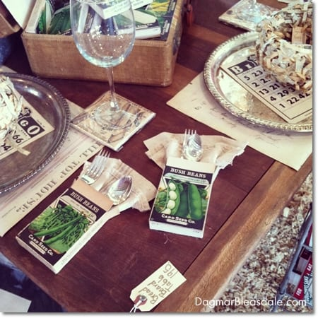 vintage seed box table setting, Country Living Fair in Rhinebeck, DagmarBleasdale.com