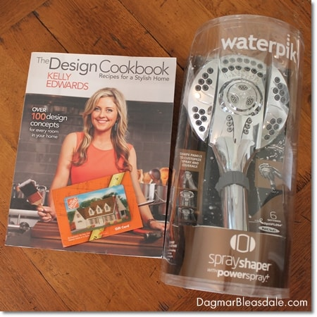 Waterpik giveaway with showerhead, design book, and Home Depot gift card