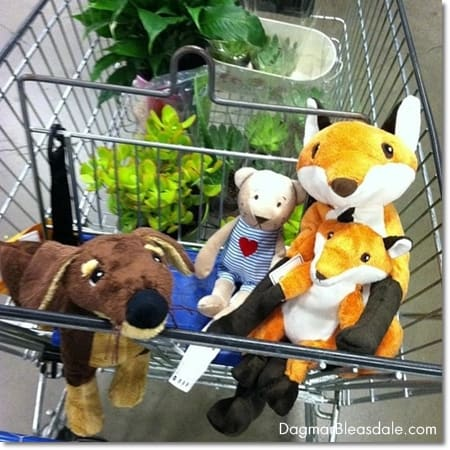 Ikea stuffed animal fox and dachshund and teddy bear