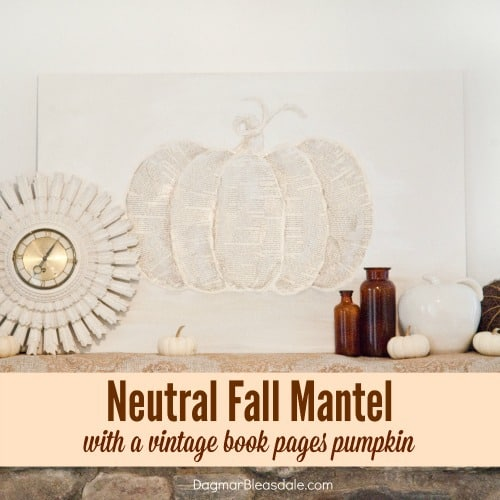 neutral fall mantel and book pages pumpkin, DagmarBleasdale.com