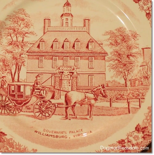 vintage find, transferware plate, Governor's Palace, Williamsburg, VA