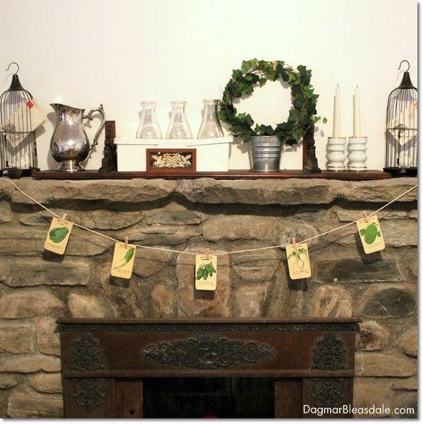 Spring Mantel With DIY Vintage Seed Packets Banner