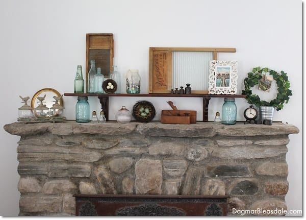 vintage mason jars on mantel