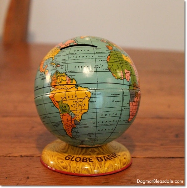 vintage globe bank