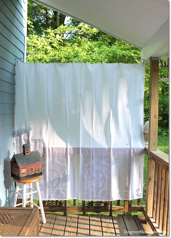 DIY porch curtains with shower curtain liner, DagmarBleasdale.com