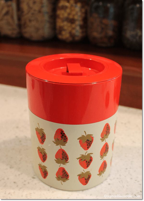 """Thrifty & Vintage Finds"" Party #69 – Vintage Strawberry Canister"