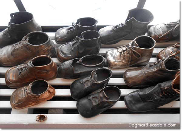 Antique collections, antique bronzed baby shoes, DagmarBleasdale.com