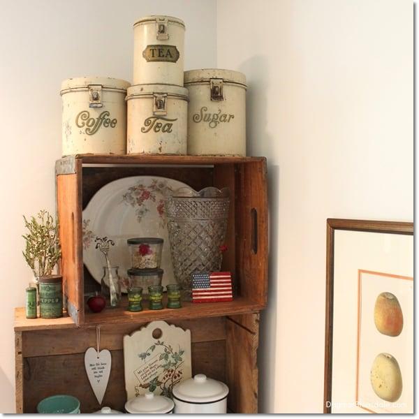 white vintage tin canister set
