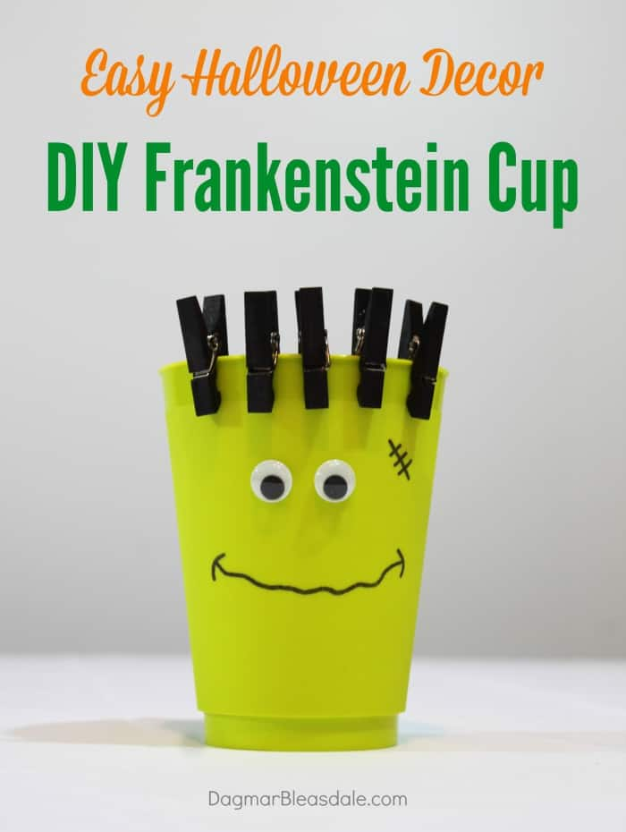 DIY Frankenstein cup for Halloween