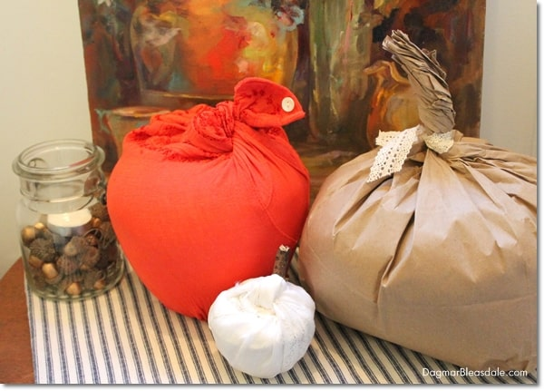 DIY fabric and paper Toilet Paper Pumpkin, easy DIY fall decor, DagmarBleasdale.com