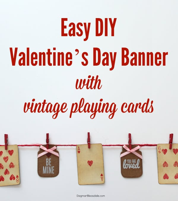 Valentine's Day banner with vintage playing cards, DagmarBleasdale.com